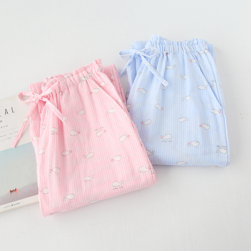 Women sleep bottoms cotton sweet pink blue color cute dophin fish printed plus size comfortable simple full length for ladies