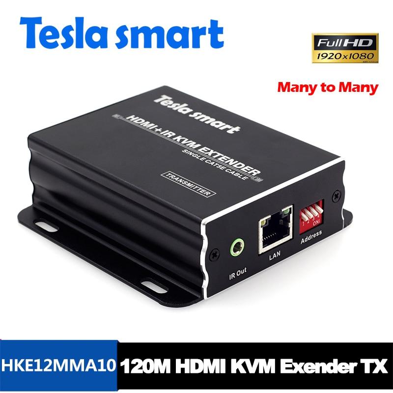 Tesla smart Many to many IP Network KVM Extender High Quality 120m USB HDMI IR KVM Extender by CAT5e/6 TCP/IP( Only TX ) недорго, оригинальная цена