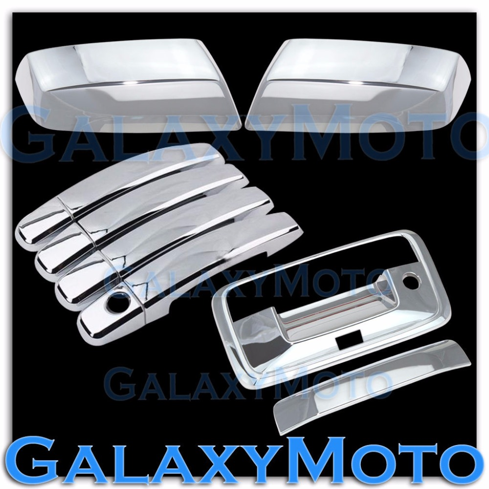 XYIVYG 14-15 for Chevy Silverado 1500 Chrome Mirror+4 Door Handle+Tailgate+Camera Hol Cover