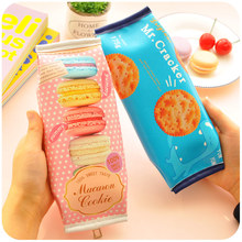 Kawaii Macaron School Pencil case for girls cute Cracker PU leather pen Bag box Stationery pouch office school supplies Escolar