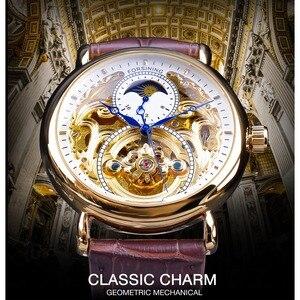 Image 2 - Forsining Luxus Weiß Gold Display Braun Leder Mondphase Mode Blau Hand Skeleton Wasserdicht Männer Automatische Mechanische Uhr
