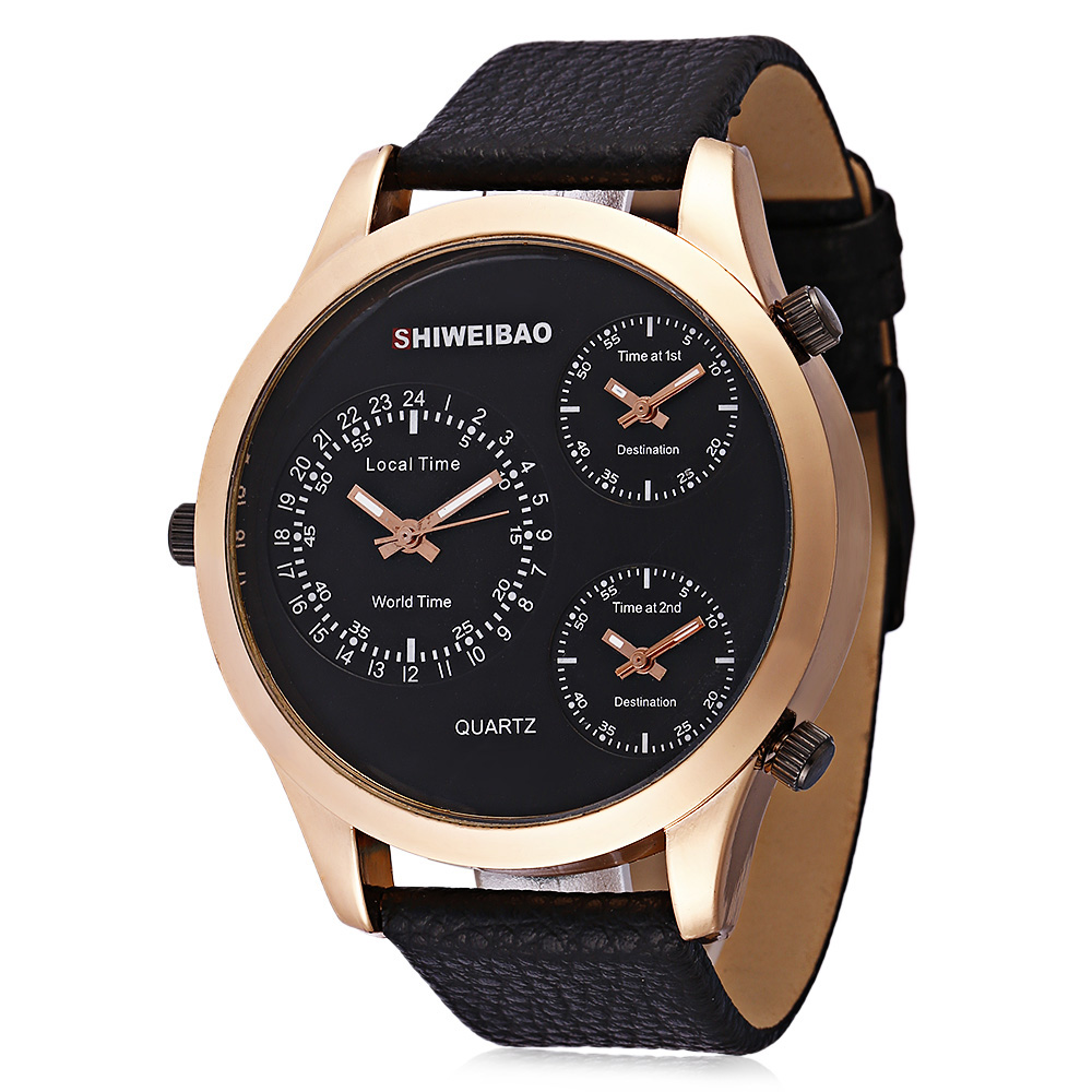 Big Rose Gold Case Wrist Watch For Men Cool Mens Watches Three Times Military Watch Man Black Leather Strap Relogio Masculino