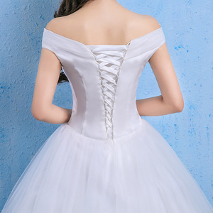 Image 4 - Vestido De Novia Luxury Crystal Wedding Dresses Ball Gown Off Shoulder Lace Up Elegant Cheap Lace Bride Dresses Robe De Mariee