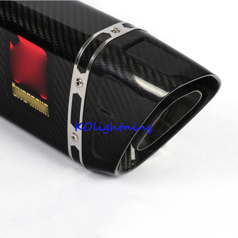 For Yamaha R1 R6 Z750 CBR500 Motorcycle Exhaust System with Real Carbon Fiber Ant-hot Cover 265mm Length