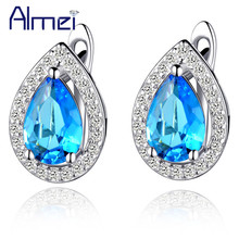 Almei Stud Earrings Micro Pave Blue Red Zircon Silver Color Fashion Vintage Earring Bijoux Anniversary Jewelry Gift 2017 R446