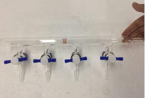 Single line 4-ports PTFE Valves vacuum gas distributor Glass Manifold 4mm