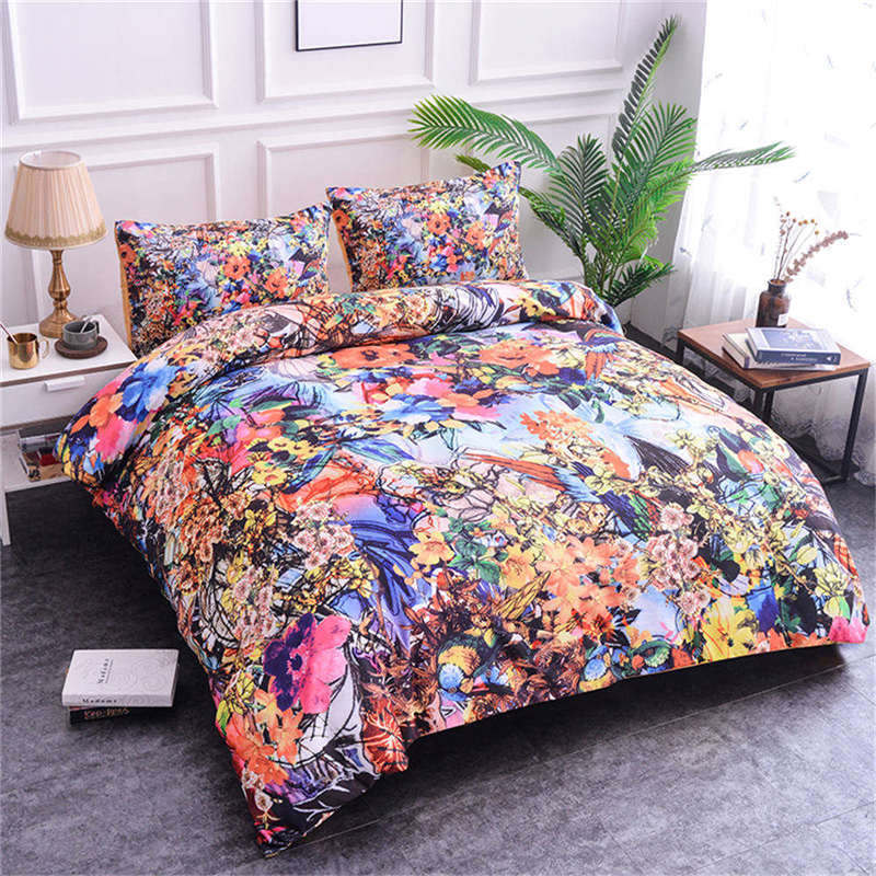 ZEIMON 3D Polyester Luxury Flowers Comforter Bedding Set Pillow Case With Duvet Cover Twin Full Queen King Double Single Size