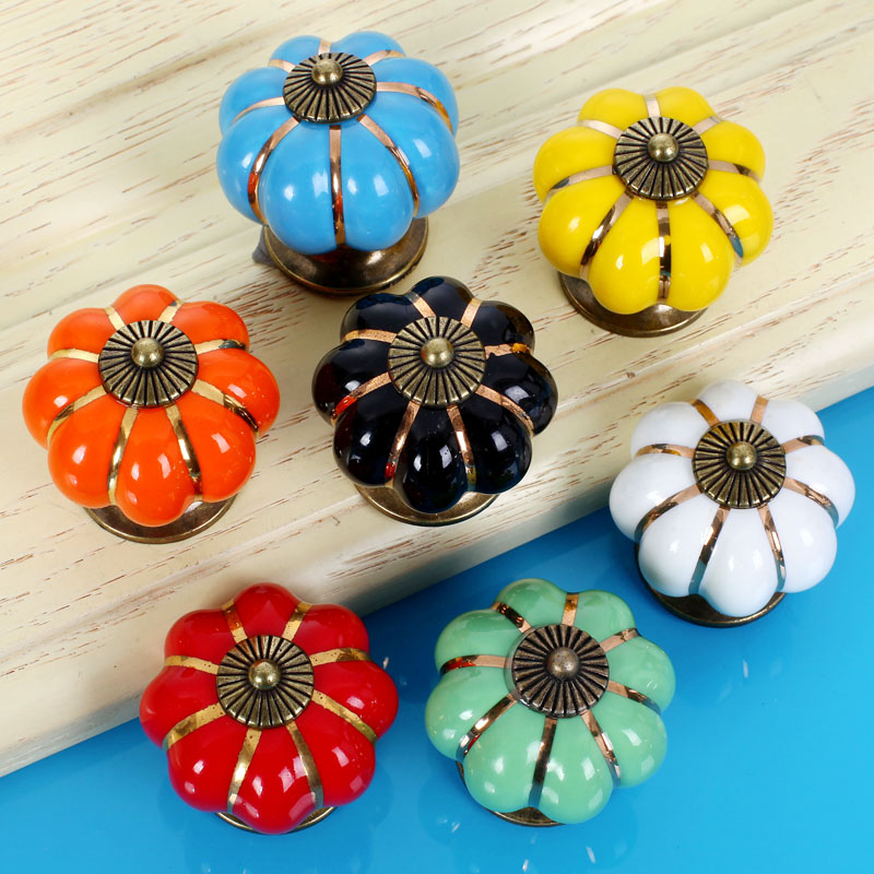 Ceramic Handles and Knob Pumpkin Shape Pull Cabinet Door Lovely Children's Furniture Drawer Cabinet Hardware porcelain knobs furniture drawer handles wardrobe door handle and knobs cabinet kitchen hardware pull gold silver long hole spacing c c 96 224mm