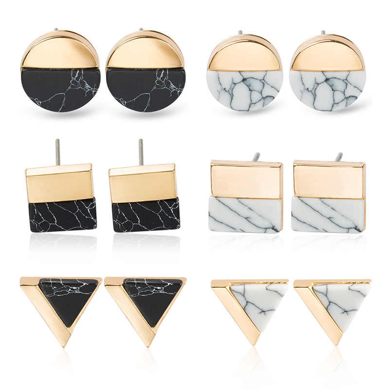 New Natural White Stone Green Malachite Gold Howlite Square Round Triangle Geometry Stud Earrings For Women Ear Jewelry bijoux