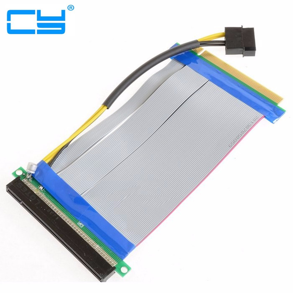 Riser PCI-E X16 Pcie Pci Express 16X To 16x Riser Extender Card With Molex IDE Power & Ribbon Cable Adapter 20cm