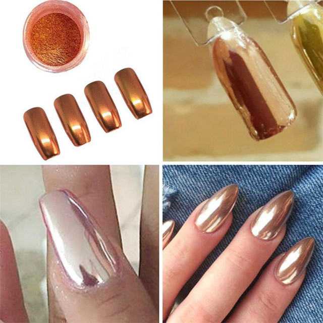 Sexy Rose Gold Nail Mirror Powder Glitter Chrome Powder Art Decoration Gold Purple