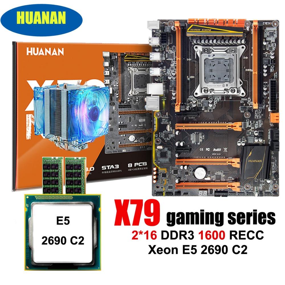 Placa base HUANAN ZHI deluxe X79 LGA2011 con placa base de descuento de ranura m2 con CPU Xeon E5 2690 C2 2,9 GHz RAM 2*16G 1600 RECC