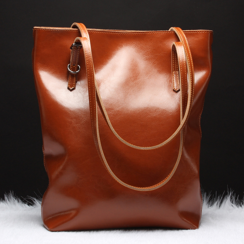 Brand Luxury Genuine Leather Casual Tote Women Oil Wax Shoulder Bags Ladies Fashion Cowhide Top-handle Bag Handbag Messenger Bag new 2017 fashion brand genuine leather women handbag europe and america oil wax leather shoulder bag casual women