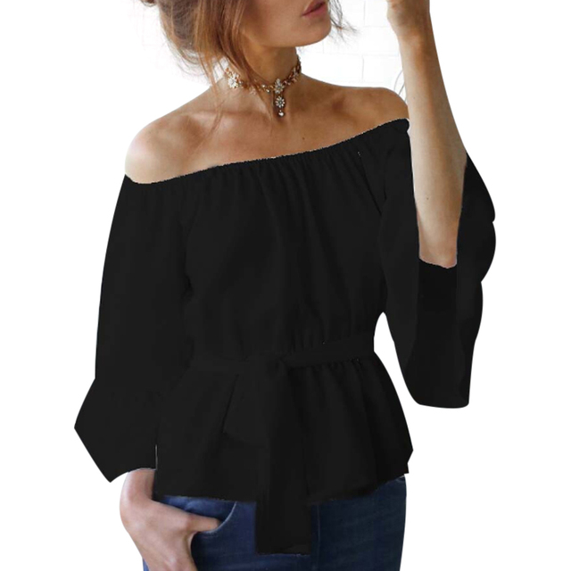 5bedcbc177d36 Sexy Womens Off Shoulder Blouse Shirt Summer Tops Casual Stretch Flare  Sleeve Shirts Front Tie Female Blouses White Black Pink