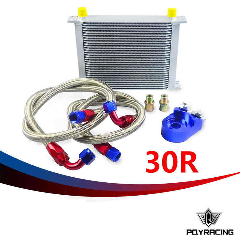 PQY RACING- AN10 OIL COOLER KIT 30RWOS TRANSMISSION OIL COOLER SILVER+OIL FILTER  ADAPTER BLUE PQY3830B pqy store an10 oil cooler kit 25rwos transmission oil cooler silver oil filter adapter blue pqy3825b