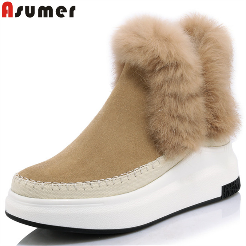ASUMER 2018 winter keep warm snow boots women round toe ankle boots for women suede leather boots comfortable ladies shoes стоимость