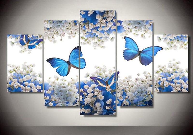 5 pièces/ensemble, bricolage 5D diamant broderie papillons fleurs carré diamant peinture point de croix Kits, diamant mosaïque décor à la maison g