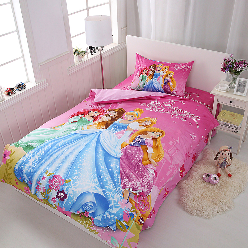 Disney Rapunzel  Cinderella Princess Kids Girls Bedding Set Duvet Cover Bed Sheet Pillow Cases Twin Single Size  Drop Shipping