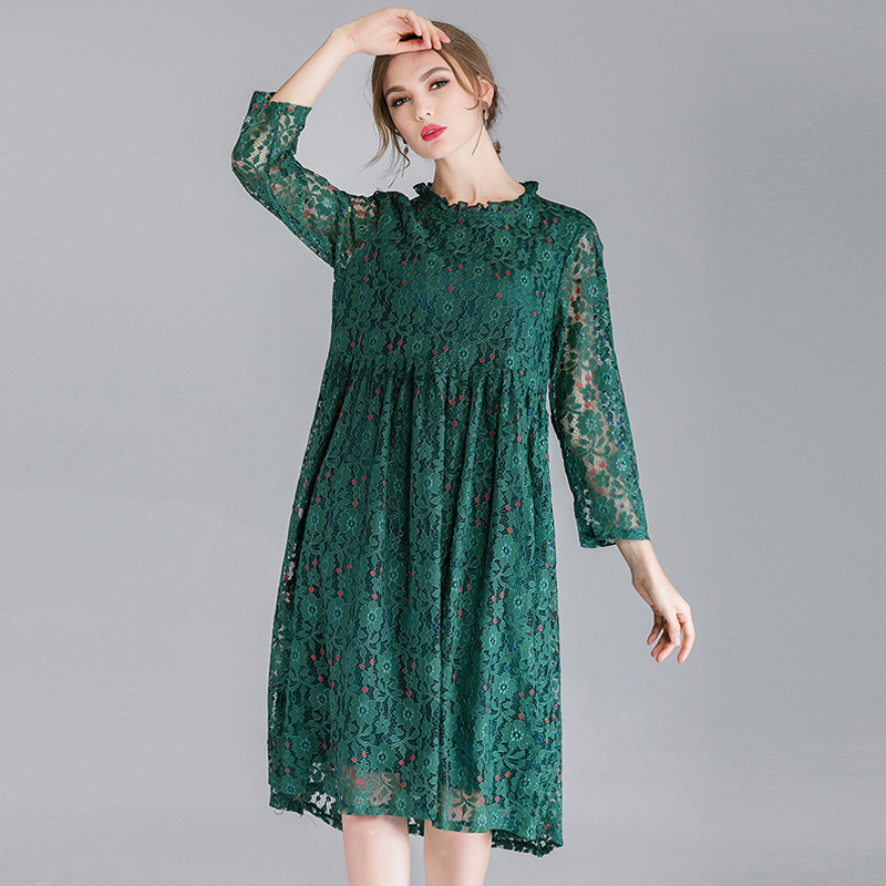 US $35.91 43% OFF 2019 European American design sweet lace dresses plus  size casual women floral lace pleated dress green black pink-in Dresses  from ...