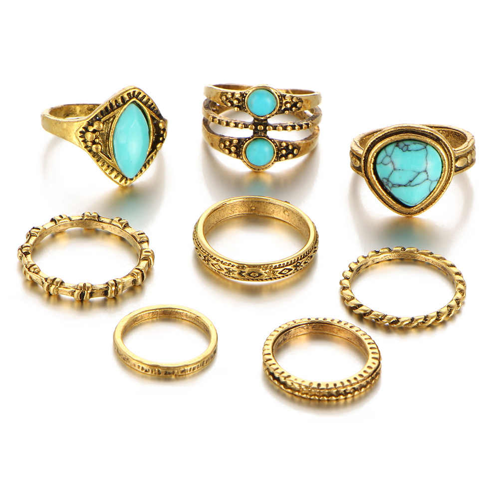 8PCS/Set Antique Gold Color Blue Beads Natural Stone Knuckle Rings Set Women Geometric Hollow Triangle Ring Midi Finger Jewelry
