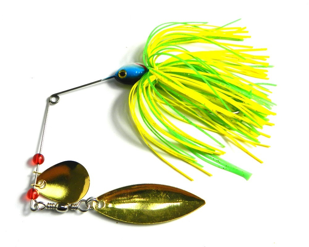 Metal paljetter lockar 1pcs / lot wobblers sjunker Fiske Lure Spinnerbait 17g Colorado Willow Blades Flash Chartreuse