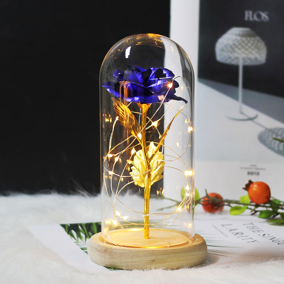 2019 Hot Beauty and Purple Beast Red Rose Glass Dome