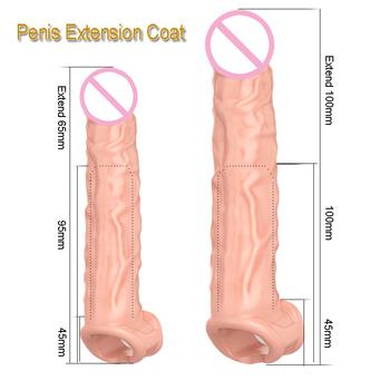 Powiększenie penisa Penis rozszerzenie rękawy wielokrotnego użytku prezerwatywy nosze penisa powiększenie penisa sex zabawki Penis rękaw extender x40 tanie i dobre opinie ZOOZSEX Medical Silicone S 205mm L 245mm Pompy i powiększalniki Flesh Discreet
