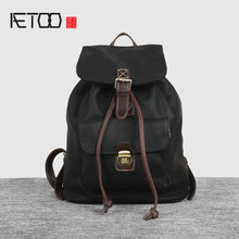AETOO Europe and the United States retro hit color leather shoulder bag female buckets Baotou layer of leather backpack men trav