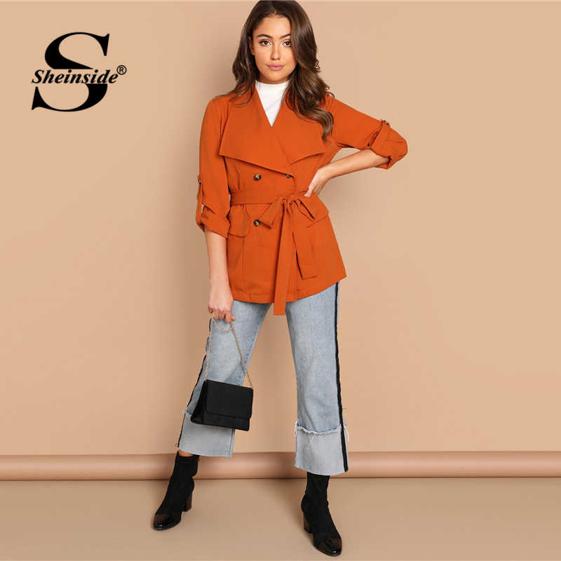 0fcb64f4d2 ... Sheinside Orange Office Ladies Blazer & Suits Roll Up Sleeve Double  Breasted Coat Belted Outerwear Women
