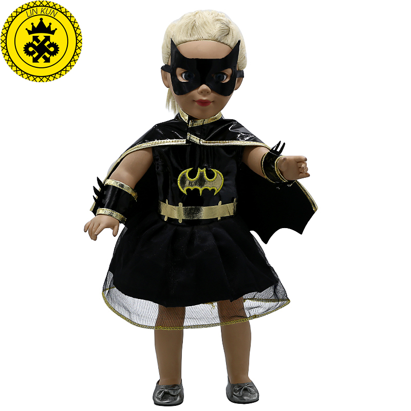 American Girl Doll Clothes Batman Cloak Dress Cosplay Costume Doll Clothes for 16-18 inch Dolls Madame Alexander Doll MG-201 american girl doll clothes ears and tail tiger leopard sets doll clothes with shoes free for 16 18 inch dolls 3 colors mg 262