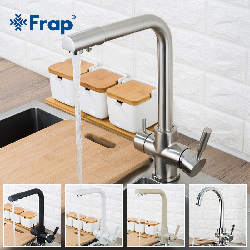 Frap New Kitchen Faucets Deck Mounted Mixer Tap 360 Rotation with Water Purification Features Mixer Tap