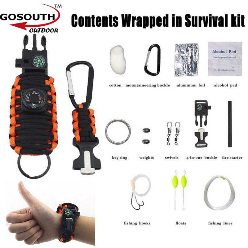 Outdoor  Survival Kit 550 Paracord  Carabiner fishing tools With Key Chain Brace