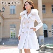 dabuwawa 2016 high quality new fall autumn winter removable fur collar long coat for women jackets elegant overcoat white
