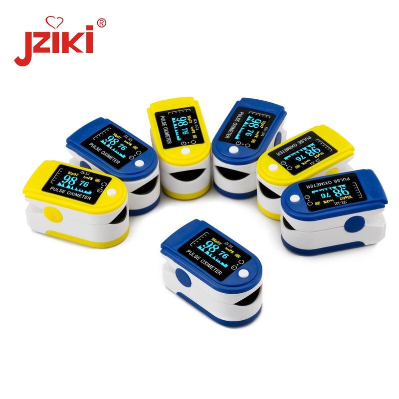 JZIKI oled Finger Pulse Oximeter Blood Oxygen SpO2 Saturation Oximetro Monitor Blood pressure meter auxiliary Alarm oximetry