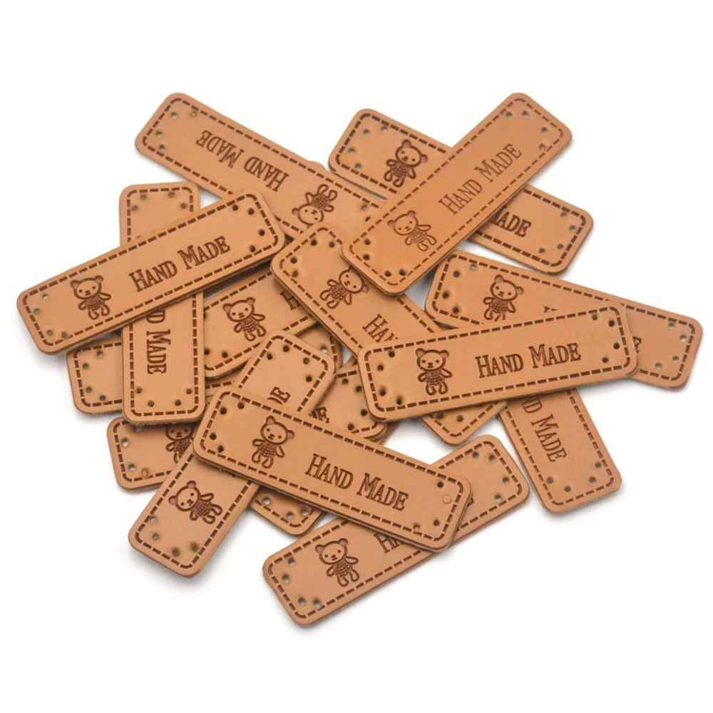 KALASO Wholesale 30pcs Bears Handmade Labels Clothes Garment PU Leather Labels Hand Made Tags Caps Bags Shoes Sewing Supplies