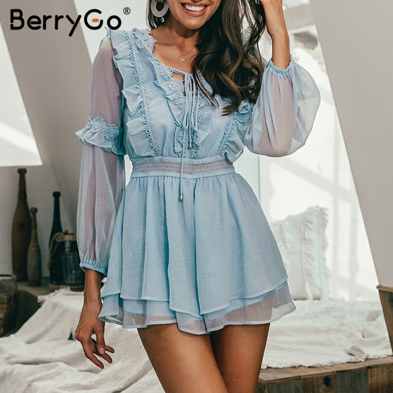BerryGo Elegant ruffled   jumpsuit   embroidery women playsuit Elastic high waist female   jumpsuit   romper ladies short overalls 2019