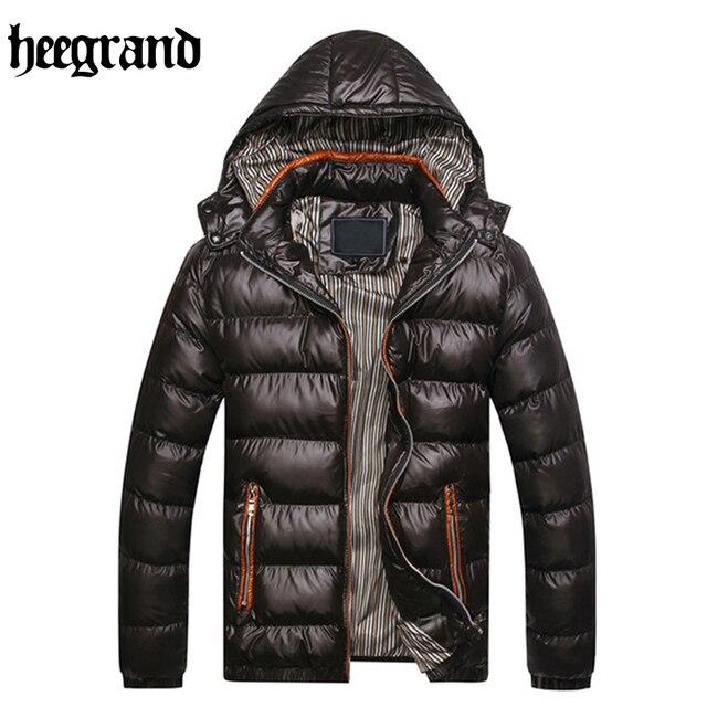 HEE GRAND 2017 New Fashion Solid Stripe Winter Parka Jackets Men Windproof  Hooded Warm Overcoat MWM516