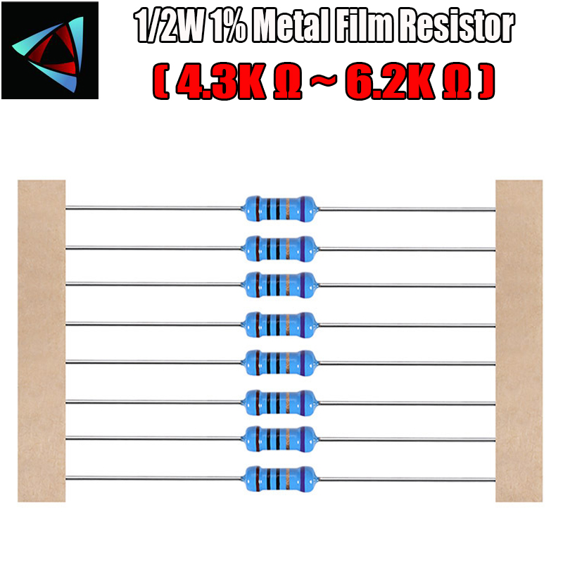 20pcs 2K ohm ±1/% 2W 2 Watt Metal Film Five Color Ring Resistor