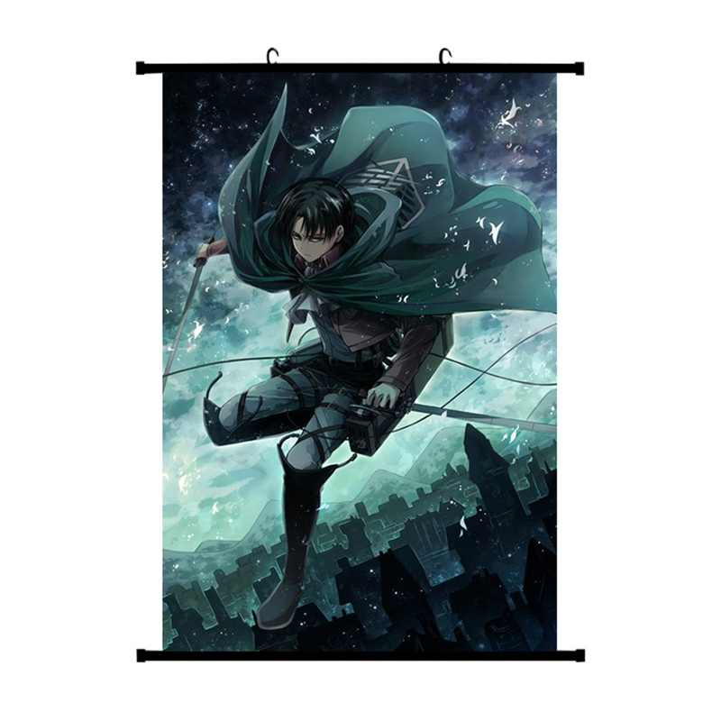 2019 Japan Anime Attack On Titan Wall Scroll Painting Canvas Poster Cosplay Home Decoration