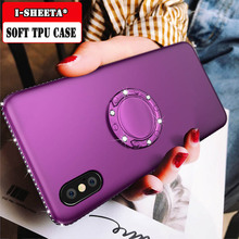 3D Bling Diamond For iphone XS Max XR X Soft Silicone TPU Case 8 7 6S plus 360 Magnetic Ring Holder Stand Cover