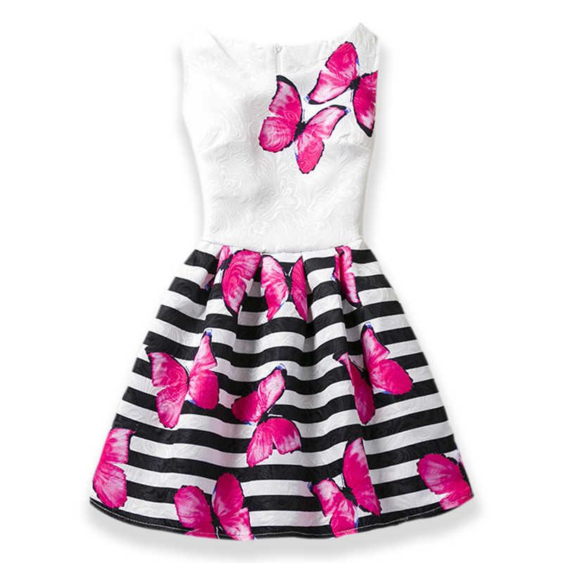 2019 meninas vestido de verão borboleta floral impressão adolescentes vestidos para meninas designer festa formal crianças roupas meninas