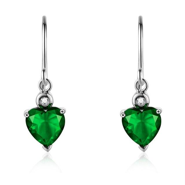 Double R 925 Sterling Silver Emerald Earrings With Gemstone Diamond Drop Heart Blue Topaz