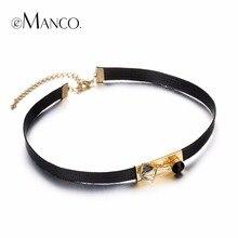 Emanco elegante más nuevo minimalista tatuaje choker collares y colgantes para las mujeres negro cera cuerda de cristal plateado oro de la joyería