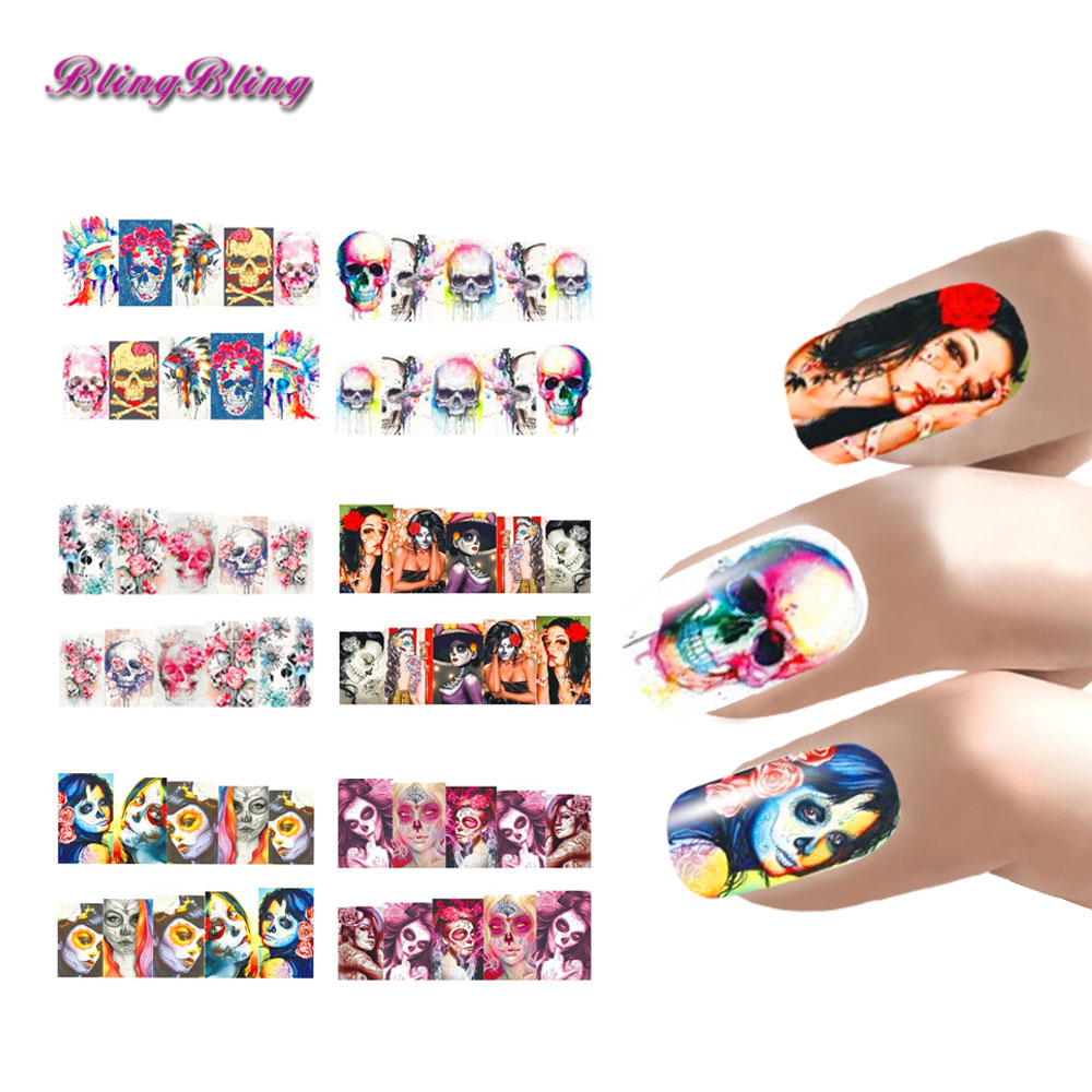 6 Sheet Nail Art Halloween Nail Sticker Sets Skull Style Water
