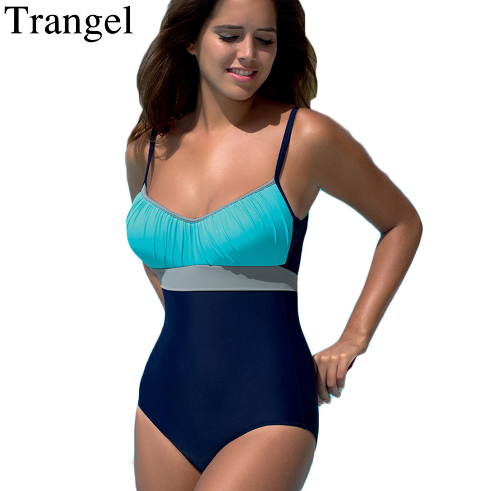 Trangel push up One Piece Swimwear women 2017 Plus Size swimsuit patchwork sport wear bathing suit Retro swimming suit beachwear 2017 plus size swimwear women swimming dress sexy large one piece swimsuit push up beach dress patchwork bathing suit
