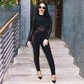 combinaison femme Bandage Jumpsuits Women 2016 HL Sexy Bodycon Bandage Jumpsuit Long Sleeve Jumpsuit Mesh Bodysuits Black