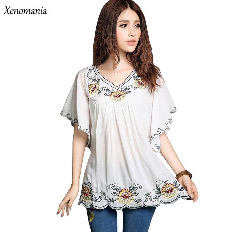 ✅Hippie Boho Bordado blusa 2017 verano kimono camisa coreana ...