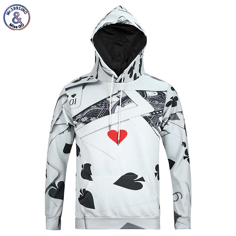 Mr.1991INC New Fashion Mens Long Sleeve 3d Hoodies With Cap Print Poker Casual lovely Hoody Autumn Winter Sweatshirts