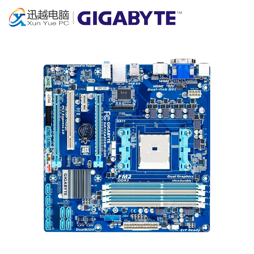 Gigabyte GA-F2A85XM-D3H Desktop Motherboard F2A85XM-D3H A85X Socket FM2 DDR3 SATA3 USB3.0 ATX for gigabyte ga a75 d3h original used desktop motherboard for amd a75 socket fm1 for ddr3 sata3 usb3 0 atx