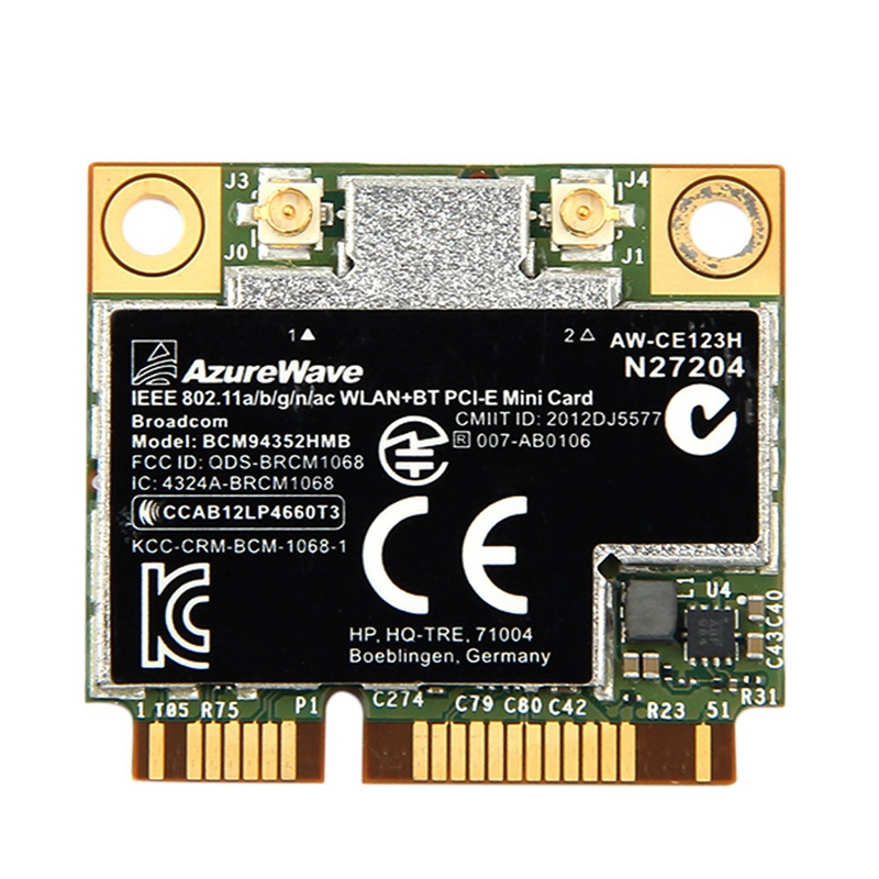 Dual Band Bcm94352Hmb Bcm94352 802.11/Ac 867Mbps Wifi Bluetooth 4.0 Mini Pci-E Wireless Card Aw-Ce123H Wi-Fi